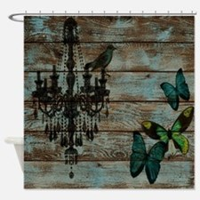shabby chic barn vintage chandelier Shower Curtain