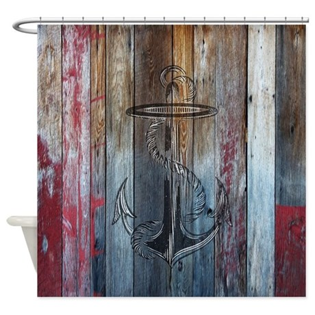 Vintage Anchor Rustic Wood Shower Curtain By Rebeccakorpita
