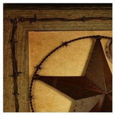 primitive  texas lone star cowboy Poster