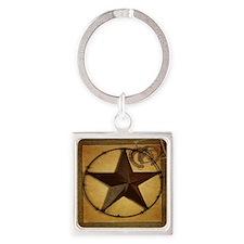 primitive  texas lone star cowboy Square Keychain