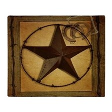 primitive  texas lone star cowboy Throw Blanket