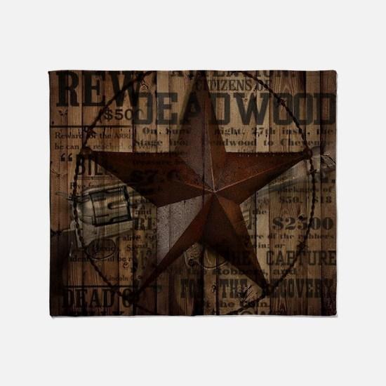 primitive  texas lone star cowboy Throw Blanket