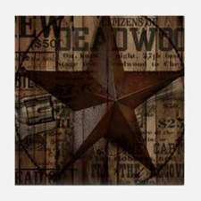 primitive  texas lone star cowboy Tile Coaster