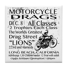 Vintage Race poster Motorcycle Tile Coaster