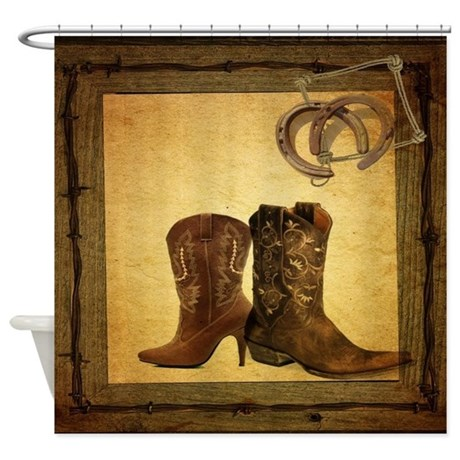 Equestrian Cowboy Boots Western Shower Curtain By Listing