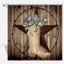 rustic barn texas cowgirl boots Shower Curtain