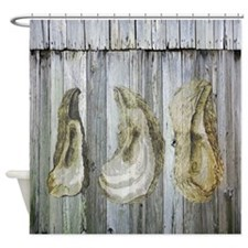 Rustic Wood Oyster Shell Shower Curtain