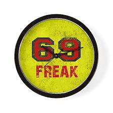 69 FREAK red black yellow vintage Wall Clock