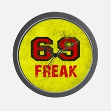 69 FREAK red black yellow vintage Wall Clock