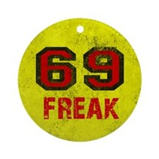 69 FREAK red black yellow vintage Round Ornament