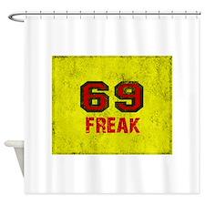 69 FREAK red black yellow vintage Shower Curtain