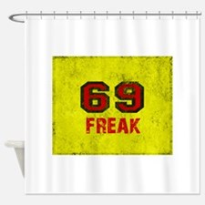 69 FREAK red black yellow vintage Shower Curtain
