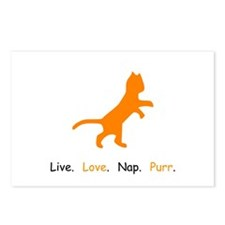 Cat Lovers Live Love Nap Purr Postcards (Package o