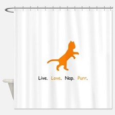Cat Lovers Live Love Nap Purr Shower Curtain