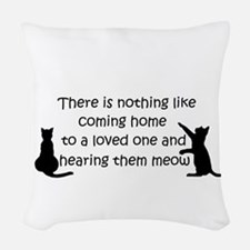 Coming Home to aCat Woven Throw Pillow