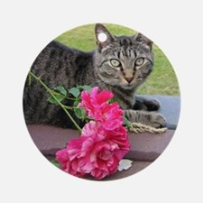 Grey Tiger Cat with Rose Round Ornament