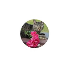 Grey Tiger Cat with Rose Mini Button
