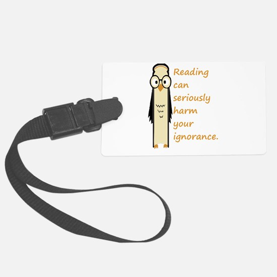 Cute Book Owl Reading Quote Luggage Tag