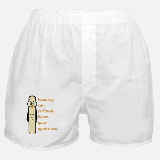 Cute Book Owl Reading Quote Boxer Shorts