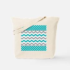 Teal and Gray Chevron Polka Dots Tote Bag