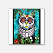 "Cute Sugar skull cat Square Sticker 3"" x 3"""