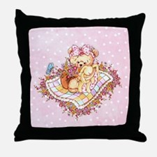 Bear With Bunny Throw Pillow