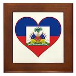 Haiti Flag Heart Framed Tile