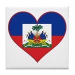 Haiti Flag Heart Tile Coaster