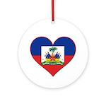 Haiti Flag Heart Ornament (Round)