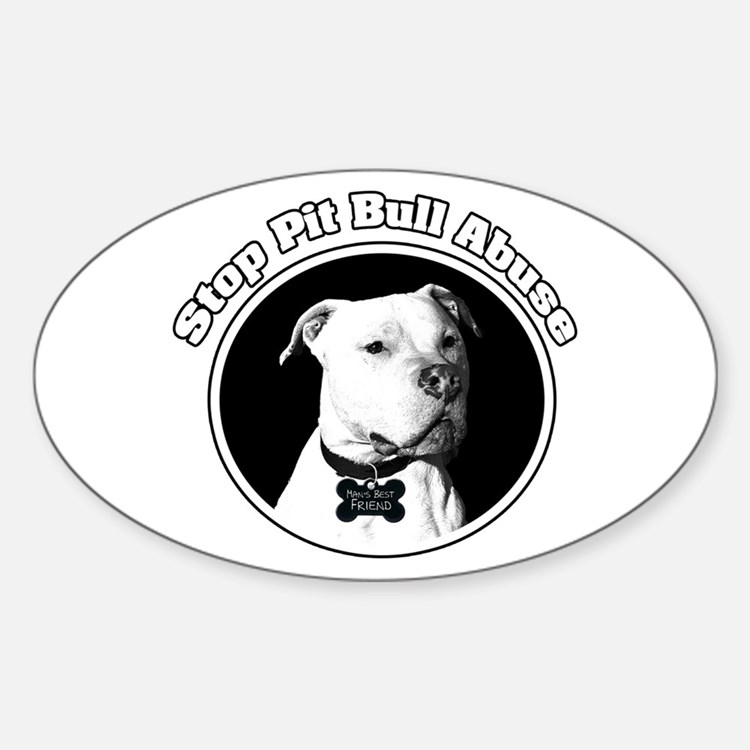 Stop Pitbull Abuse Oval Decal