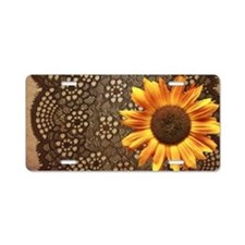 girly sunflower brown lace Aluminum License Plate