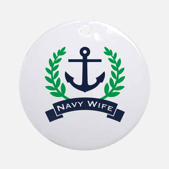 Navy Wife Anchor Round Ornament