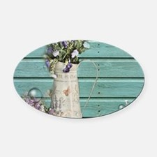 turquoise barn wood lavender Oval Car Magnet