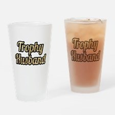 Trophy Husband Gold Glitter Drinking Glass