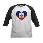 Haiti Flag Heart Kids Baseball Jersey