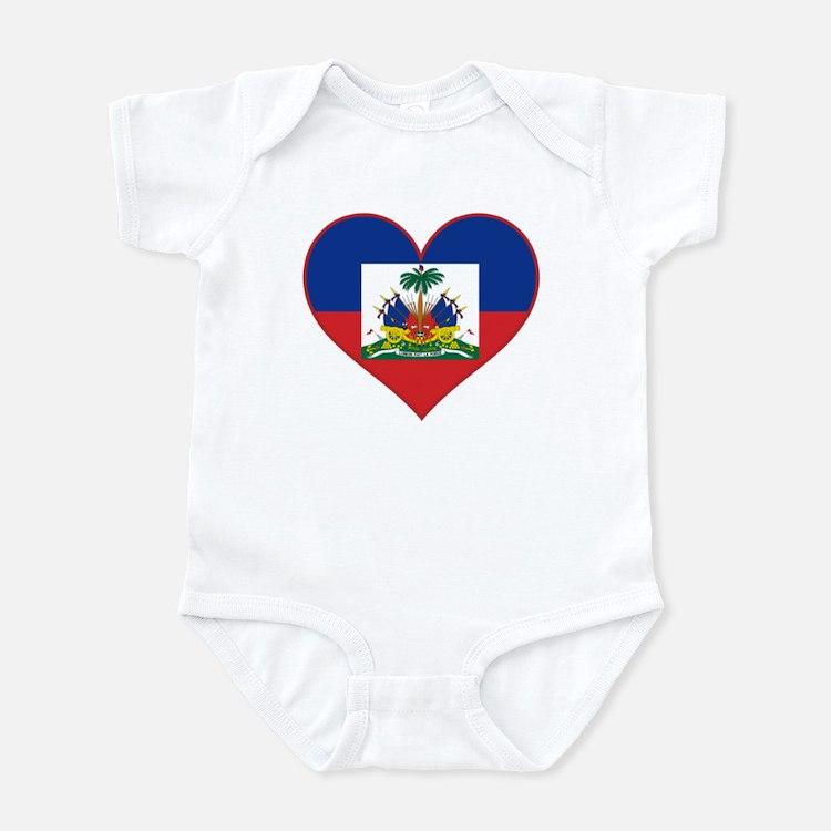 Haiti Flag Heart Infant Bodysuit