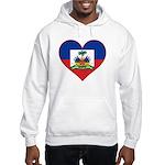 Haiti Flag Heart Hooded Sweatshirt