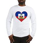 Haiti Flag Heart Long Sleeve T-Shirt