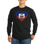 Haiti Flag Heart Long Sleeve Dark T-Shirt