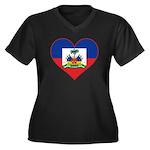 Haiti Flag Heart Women's Plus Size V-Neck Dark T-S