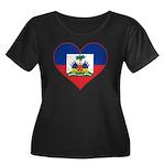 Haiti Flag Heart Women's Plus Size Scoop Neck Dark
