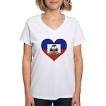 Haiti Flag Heart Women's V-Neck T-Shirt
