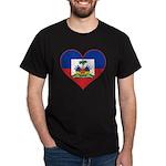 Haiti Flag Heart Dark T-Shirt