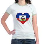 Haiti Flag Heart Jr. Ringer T-Shirt