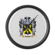 Wicks Coat of Arms - Family Crest Large Wall Clock