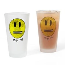 SMILEY FACE ZIP IT Drinking Glass