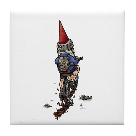 Dirty Little Mountain Biker Gnome Tile Coaster