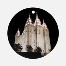 Salt Lake Temple Lit Up at Night Round Ornament