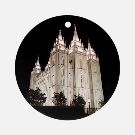 Salt Lake Temple Lit Up at Night Round Ornament