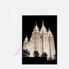 Salt Lake Temple Lit Up at Night Greeting Cards